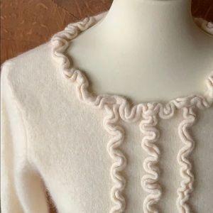 Sweaters - J Peterman ruffle wool blend pullover sweater